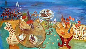 Picnic-UNStill-Life-painting-by-Joyce-Lieberman