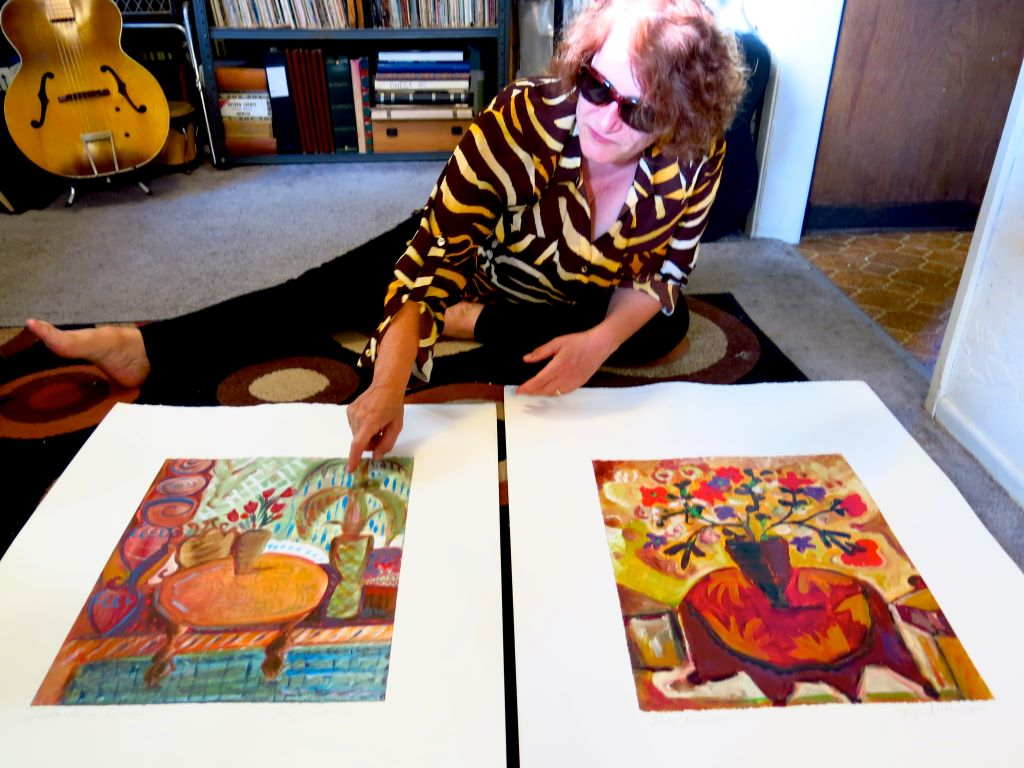 "Joyce Lieberman showing her ""Fiesta"" series of paintings,"